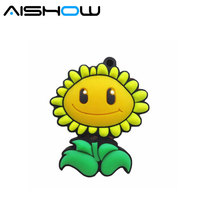 Real capacity pendrive cartoon flower 8GB 16GB 32GB sunflower USB 2.0 usb flash drive memory Silicone Rubber Cute plant gift(China)