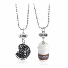 2pcs/set Series Of Small Kawaii Cookie & Coffee Best Friend Miniature Food Necklace Oreo Round Resin Alloy Souvenir Gift Female(China)