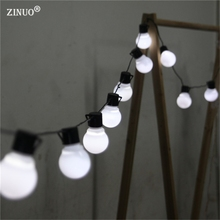 ZINUO 10M 38pcs 5CM Big Ball LED String Black Wire Outdoor Fairy String Garland Light Christmas Wedding Garden Light 110V 220V
