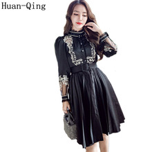 High Quality Autumn Women's Vintage Embroidery Belt Slim Black Pleated Dress Runway Long Sleeve Elegant Party Dresses Vestidos