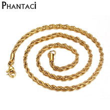 Buy 2017 Hot Width 3mm 316L Stainless Steel Gold Rope Chain Necklace Swag Twisted Punk Rock Chain Necklace Men Women for $2.06 in AliExpress store