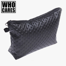 Black Dot 3D Printing Leather Cosmetic bags travel organizer 2016 Fashion New pencil case trousse de maquillage women makeup bag