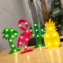 Flamingo Led Night Light 3D Lamp Marquee Unicorn Head Pineaapple Lantern Christmas Wedding Festival Decoration For Home Party(China)