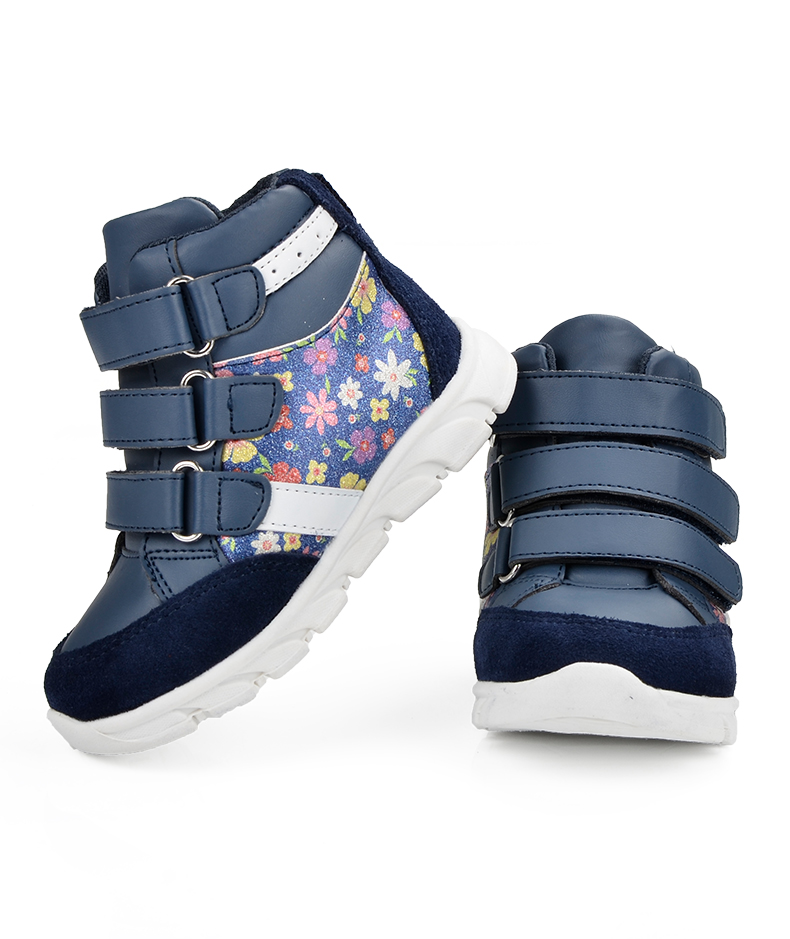 ULKNN Children Shoes For Girls Sneakers Massage Running Sport Shoes Genuine Leather Kids Sneakers Print Fashion Blue Size 20-25 (4)