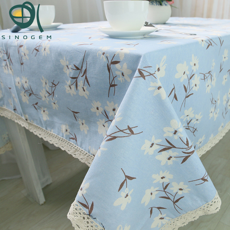 2017 New Home Tablecloth Flower Design Korean Style Countryside Table Linen Cotton Kitchen Handmade Customized Tablecloth Tops(China (Mainland))