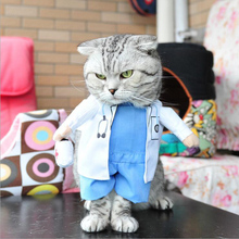 Cosplay Funny Dogs Cat Costume Doctor Suit Pet Clothes Uniform Clothing for Puppy Dog Party Jacket Business Outfit(China)