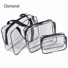 3pcs/set Travel Essential Transparent Waterproof Toiletry Wash Bathing Make Up Bag Cosmetic Case Portable Pouch Organizer Cases