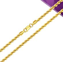"21.6""L Yellow Gold Necklace Women & Men Rope Chain Link 3mmW 6.25 g(China)"