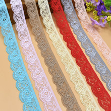 5 Yards Beautiful Flower shape high quality elastic lace ribbon 25mm width french african lace fabric costume cotton lace trim
