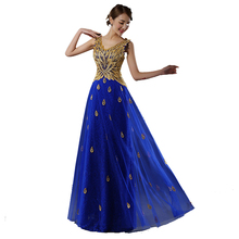 fashionable peacock robe de soiree long beading vestido de festa blue green red floor length evening dress