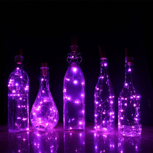 10Pcs/lot 75CM 15LED Cork Shaped LED Copper Wire Starry String Lights Wine Bottle Decoration Indoor Christmas Holiday Lights