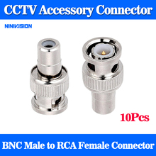 10pcs BNC Male to RCA Female Coax Cable Connector Adapter F/M Coupler for CCTV Camera(China)