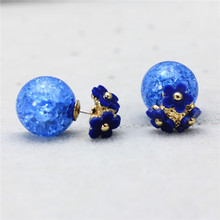 2015 new design fashion brand elegant Color Daisy jewelry double Imitation pearls stud earrings for women Flowers earings