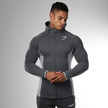 High Quality Autumn Men Zipper Hoodies Long Sleeve Bodybulding Shark Hoodies Sweatshirts Gyms Muscle Fit Clothes