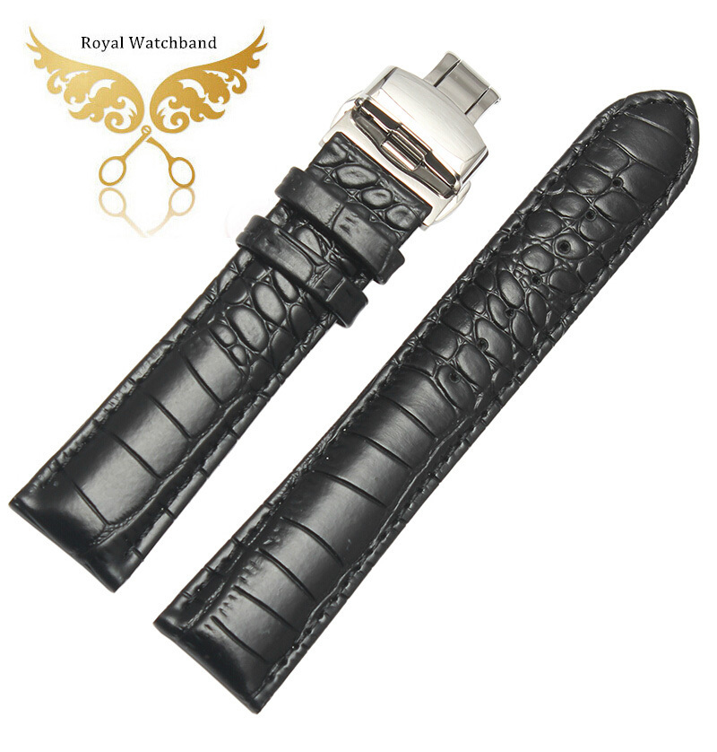 18mm 20mm 22mm NEW High Quality Polished Steel Butterfly Buckle Black Crocodile Pattern Genuine Leather Watchbands BANDS Strap<br><br>Aliexpress