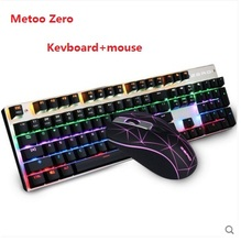 Metoo Zero  LED Backlit blue/black/red  switch Gaming Mechanical Keyboard+Mouse combo set  gaming light computer Russia stickers