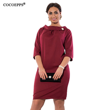 fashionable casual women dresses big sizes new 2017 plus size women clothing winter office dress Knee-Length Short sleeve Dress