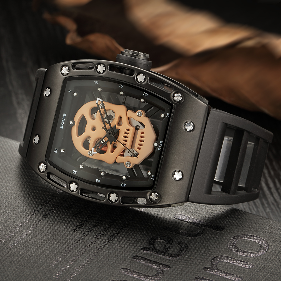 Skone Hollow Silicone Watch Male Unique Design Skull Watches Men Luxury Brand Sports Quartz Wrist Watch relogio masculino<br><br>Aliexpress