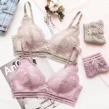Buy 2018 New Womens Comfort Print Bra Set Sexy Floral Lace Push-up Brassiere Padded Push Underwear Female Lingerie Sets