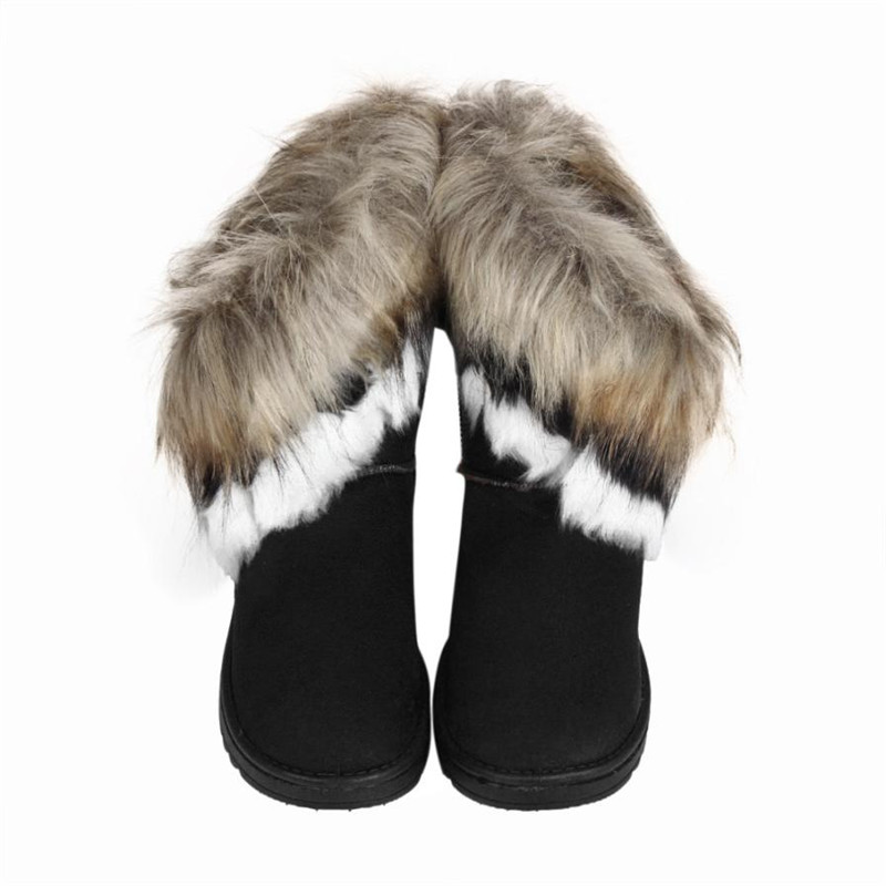 Fashion Women Boots Flat Ankle Faux Fur Lined Winter Warm Snow Shoes zapatos mujer snow boots women shoes chamois 72-94# <br><br>Aliexpress