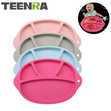 TEENRA 1Pcs Non-slip Silicone Baby Placemat Baby Dinner Plate Dish Bowl Kids Silicone Platemat Drinking Table Placemat For Kids(China)