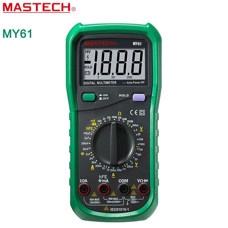 MASTECH MY61 Digital Multitester DMM Frequency Capacitance Temperature Meter Tester w/ hFE Test Ammeter Multimeter Testers Meter<br><br>Aliexpress