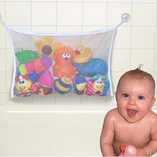 1Pcs Kids Baby Bath Net Bag Toys Storage Suction Bag Folding Hanging Mesh Net Bathroom Shower Toy Organiser Bag(China)