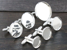 10pcs/ lot 12mm,14mm,16mm,18mm,20mm,25mm Bright Silver Plated Copper Cufflink Base Cuff Link Settings Cabochon Cameo Base