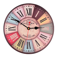 Retro 12 Inch Wall Clock Vintage Colorful France Paris French Country Tuscan Style Roman Numeral Design Silent Wooden Wall Clock