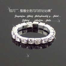 Wholesale 60pcs One Row Alloy Rhinestone Crystal Bridal Wedding Rings Bling Bling Girls Jewelry