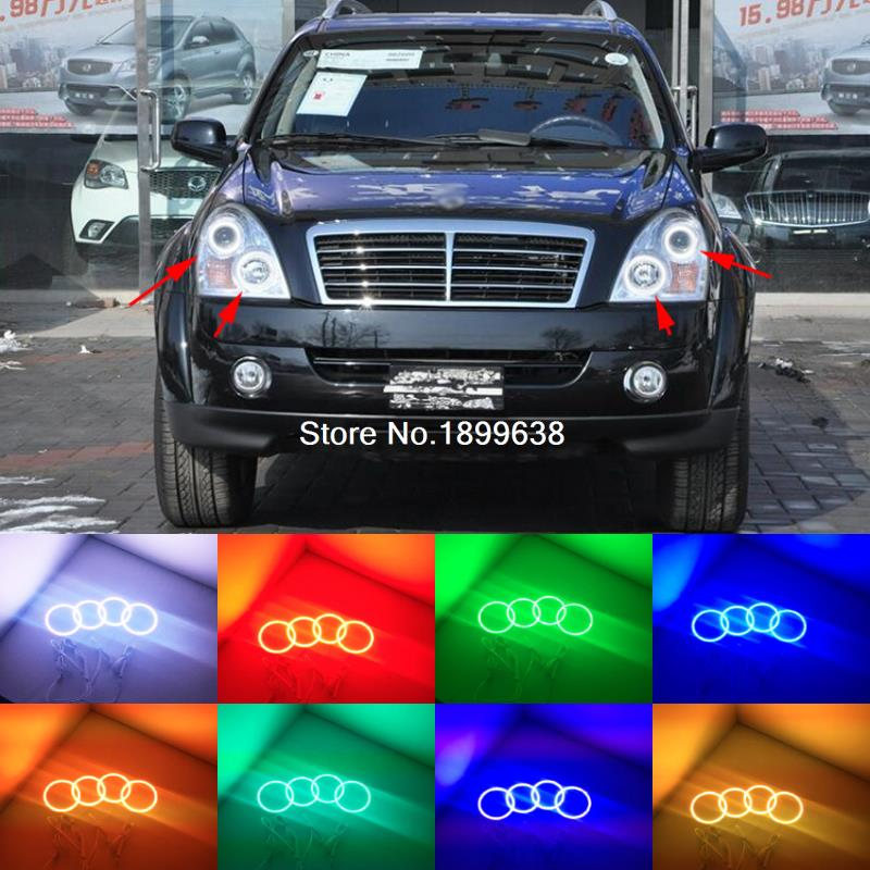 Super bright 7 color RGB LED Angel Eyes Kit with a remote control car styling for Ssangyong Rexton 2006 to 2011<br>