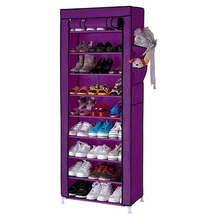 LHBL Home 10 Layer 9 Grid Shoe Rack Storage Shelf Organizer Cabinet with Cover Pockets purple