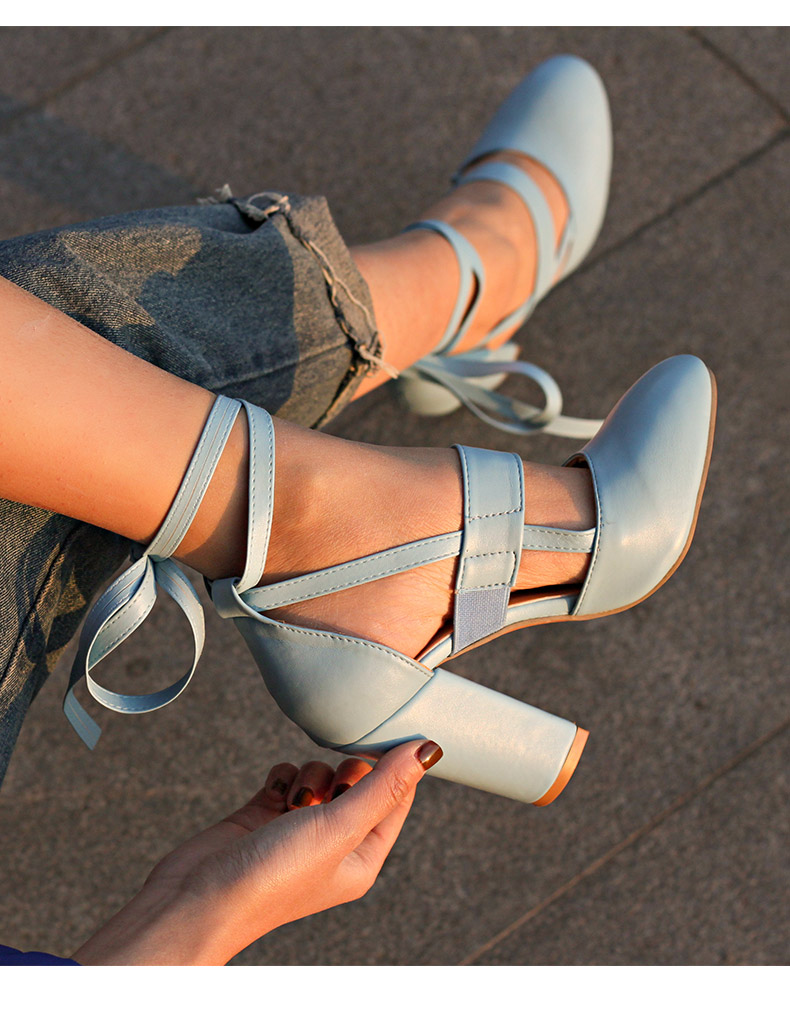 Women Pumps Comfortable Thick Heels Women Shoes Brand High Heels Ankle Strap Women Gladiator Heeled Sandals 8.5CM Wedding Shoes 12