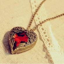 JShine Brand Design Hot sale Fashion Vintage Wings Red Gem Heart Pendant Necklace Sweater Chain Statement Jewelry Wholesale