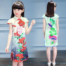 Summer Girls China Children Cheongsam Costume Folk Style Dress Girl Child Princess In Children's Clothing