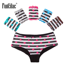 Buy FUNCILAC Briefs Women Sexy Striped Panties Low Rise Female Underwear Ladies Underpants Underwear Women Lingerie 5Pcs/Lot