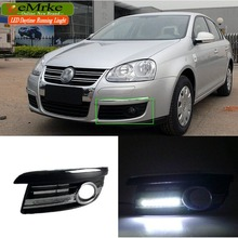 eeMrke LED Daytime Running Lights For VW Volkswagen Jetta A5 2005-2011 White DRL Light Fog Lamp Cover Kits
