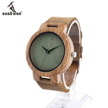 BOBO BIRD C18 Personalized Design Wooden Wristwatch with Brown Genuine Leather Band Japan 2035 Move' Quartz Wood Watch as Gifts