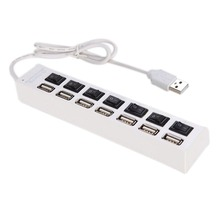7 Ports USB Power Cable 2.0 Hub ON OFF Sharing Switch Adapter For PC Desktop Laptop
