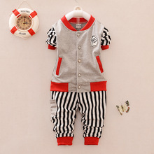 New 2016 Casual Tracksuits Kids Fashion Spring/Autumn Striped Pants + Baseball Clothing Coat Children Sports Wear For Boy 4color