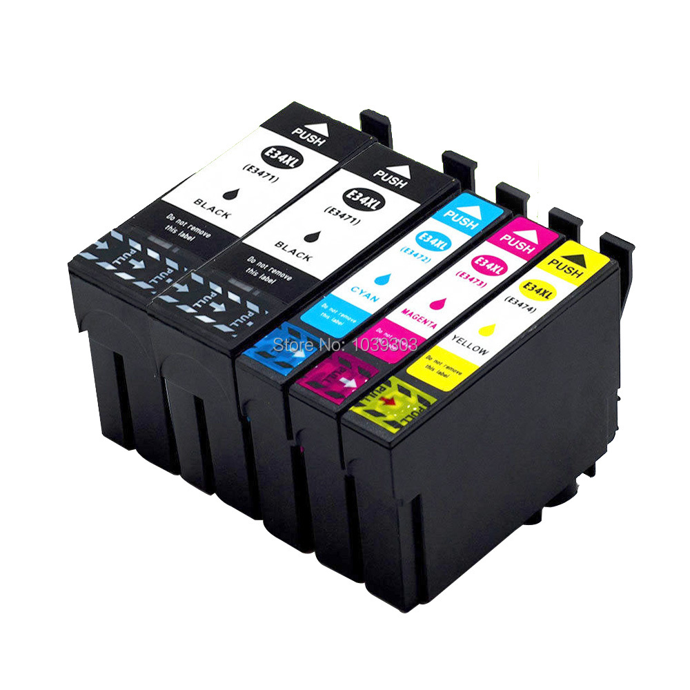 5Pack Compatible Ink Cartridges For Epson 34 XL WorkForce Pro WF-3720DWF WF-3725DWF printer T3471