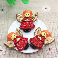 10PCS Kawaii Resin Christmas Angel Flatback Cabochon Embellishment Accessories DIY Scrapbooking Craft,23*25mm