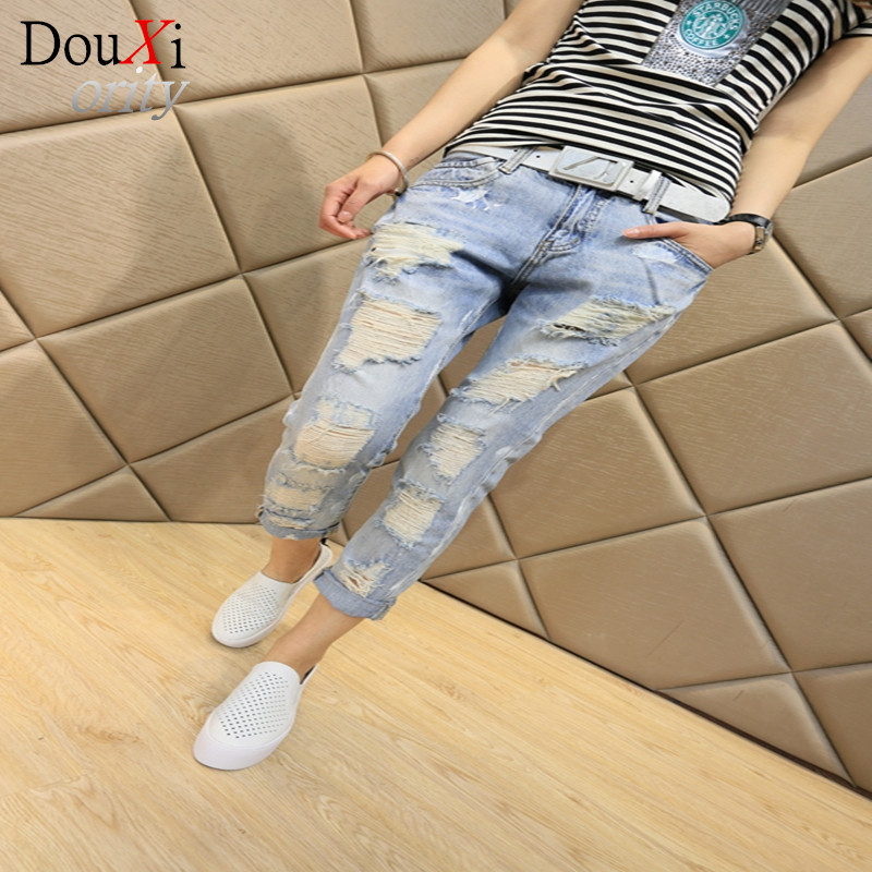 New fashion style womens hole jeans Blue Ripped Mid Waist  jeans women Ankle-Length Pants Harem Pants Одежда и ак�е��уары<br><br><br>Aliexpress