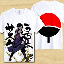 Sasuke T-Shirt Men Tee Anime Naruto Uchiha Family Logo Sharingan Eye Symbol Cosplay T Shirts Akatsuki Itachi Tshirt(China)