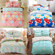 Lovely Cartoon Colorful 4Pcs Twin/Full/Queen/King Size Bedding Quilt/Duvet/Doona Cover Set&Sheet Shams Kids Children Student