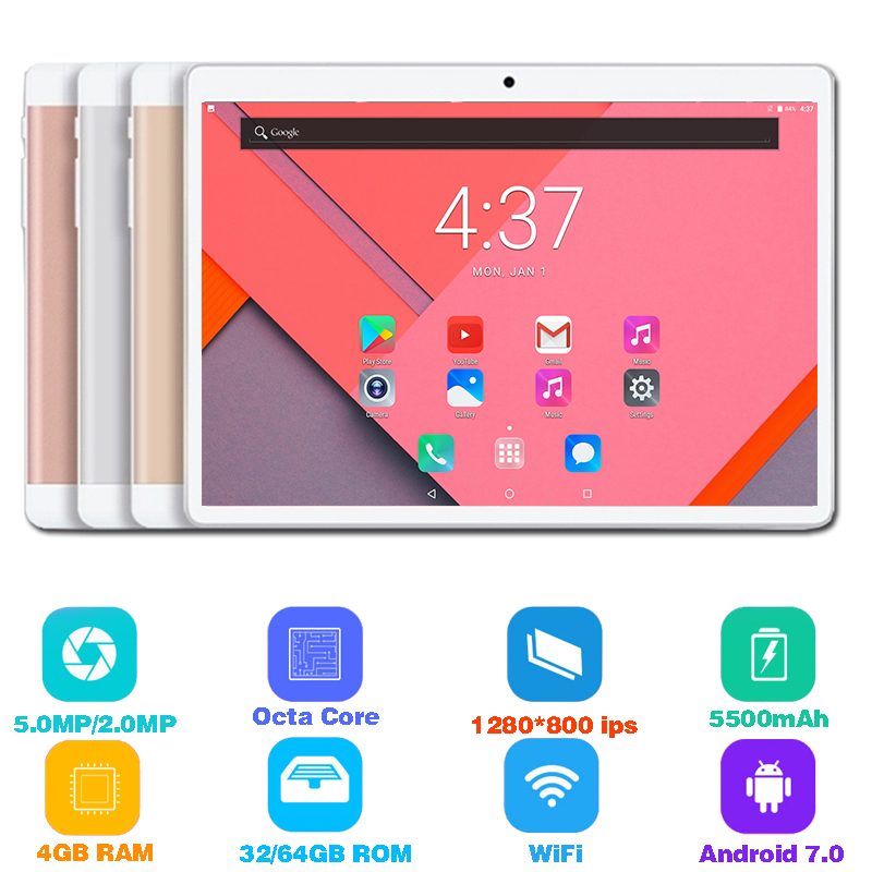 10 inch Tablet PC MTK8752 Octa Core 8 Cores Android 7.0 Dual SIM WIFI Bluetooth 4GB RAM 64GB ROM Kid tablets pc tablette 10 10.1(China)