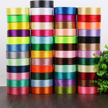 "Haosihui 25 Yards/Lot 1"" 25MM Wedding Satin Silk Ribbon Single-sided Ribbons Gift Packaging Lace DIY Accessories 50 Colors(China)"