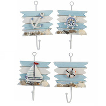 1PC Nautical Decor Hook Wall Clothes Towel Iron Hooks Mediterranean Style Bathroom Wall Hanging Holder Decor Crafts