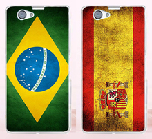 Good Selling Print Retro National Brazil Spain Flag Phone Cases Covers For Sony Xperia Z1 Mini Z1 Compact Case Cover Shell