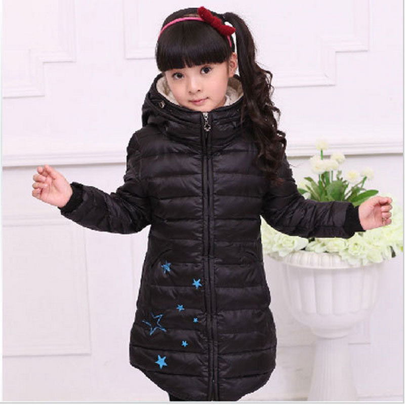 winter girls baby clothes,children's thick warm long down jacket outerwear,kid outdoor sport hooded coats for girl,free shipping(China (Mainland))